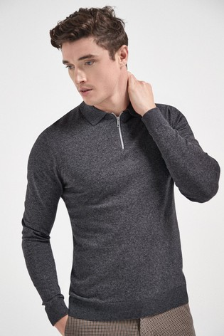 Charcoal Knitted Zip Poloshirt