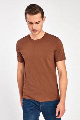 Brown Slim Fit Crew Neck T-Shirt
