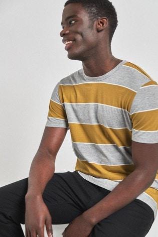 Grey/Ochre Stripe Regular Fit T-Shirt
