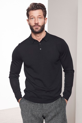 Black Signature Knitted Polo