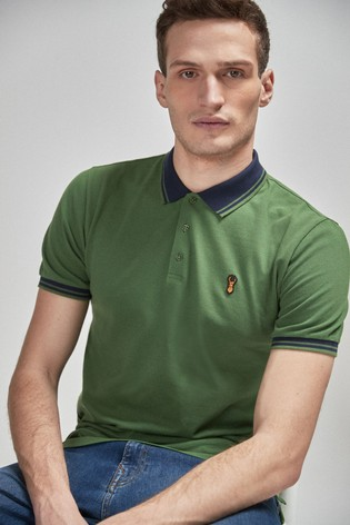 Green Slim Fit Contrast Collar Polo