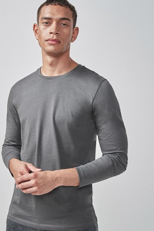 Charcoal Slim Fit Long Sleeve Crew Neck T-Shirt