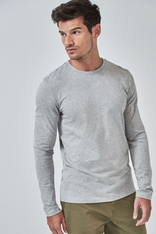 Grey Marl Slim Fit Long Sleeve Crew Neck T-Shirt