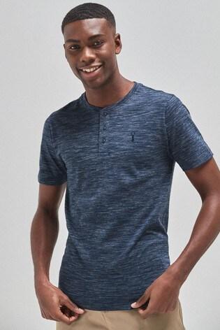 Navy Marl Slim Fit Grandad T-Shirt