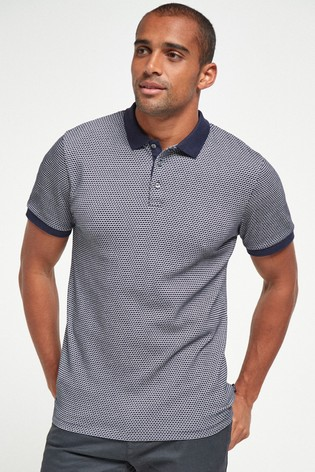 Navy Regular Fit Texture Polo