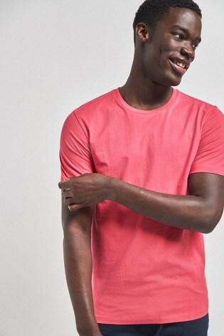 Bright Pink Slim Fit Crew Neck T-Shirt