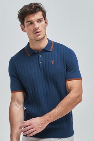 Navy Vertical Stripe Texture Knitted Polo