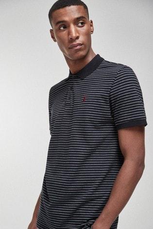 Black Stripe Regular Fit Pique Polo Shirt