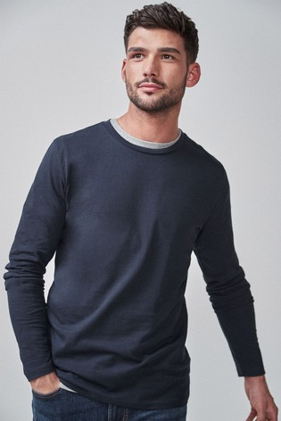 Navy Slim Fit Long Sleeve Crew Neck T-Shirt