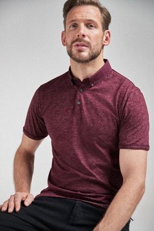 Burgundy Slim Fit Woven Collar Poloshirt