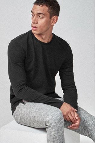 Black Slim Fit Long Sleeve Crew Neck T-Shirt