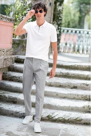 White Premium Zip Neck Polo Shirt