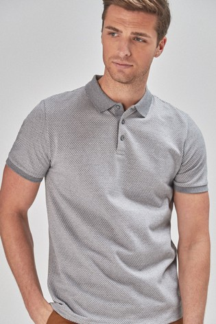 Grey Regular Fit Texture Polo