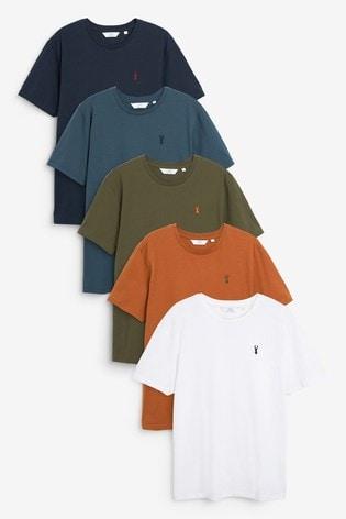 Khaki Mix Crew Neck Regular Fit Stag T-Shirts 5 Pack