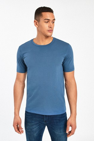 Denim Blue Slim Fit Crew Neck T-Shirt