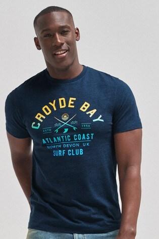 Navy Croyde Bay Graphic Regular Fit T-Shirt
