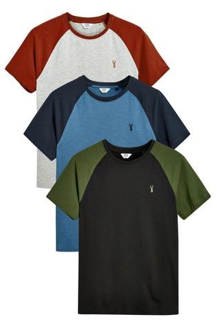 Black/Navy/Grey Colour Raglan T-Shirts Three Pack