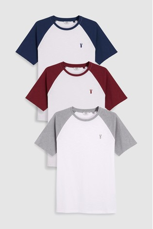 White Colour Raglan T-Shirts Three Pack