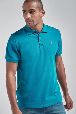 Teal Regular Fit Pique Poloshirt