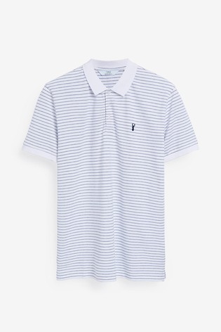 White Stripe Regular Fit Pique Poloshirt