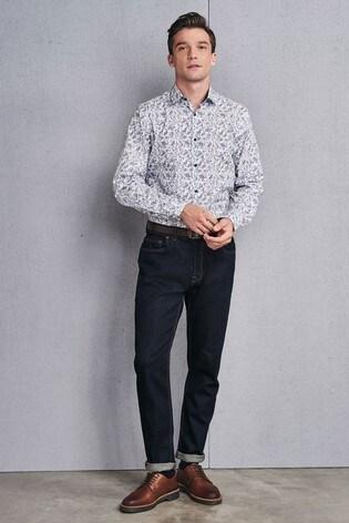White/Navy Regular Fit Single Cuff Floral Print Shirt