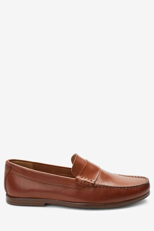 Tan Leather Saddle Loafers
