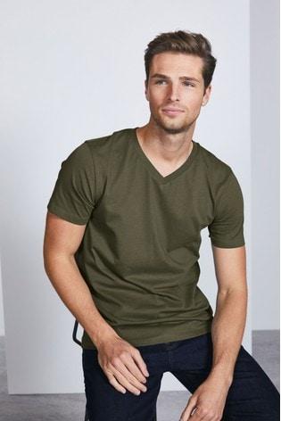 Khaki Slim Fit V-Neck T-Shirt