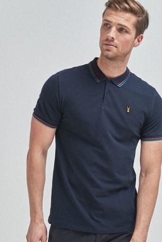 Navy Tipped Regular Fit Poloshirt