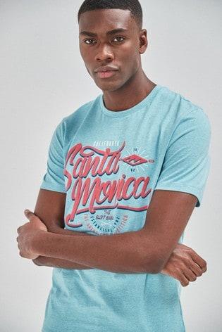 Turquoise Santa Monica Graphic Regular Fit T-Shirt