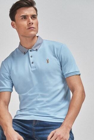 Light Blue Checked Woven Collar Regular Fit Polo