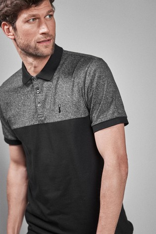 Black Colourblock Poloshirt