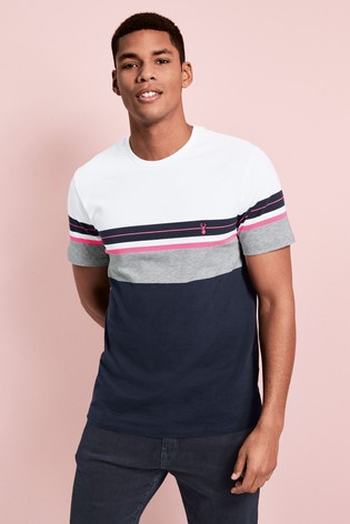 Navy/Pink Fluro Block Regular Fit T-Shirt