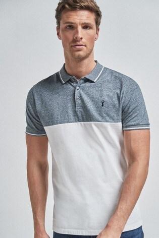 Blue Colourblock Poloshirt