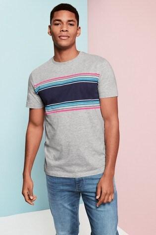 Grey Chest Stripe Regular Fit T-Shirt