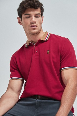 Red/Tan Tipped Regular Fit Poloshirt