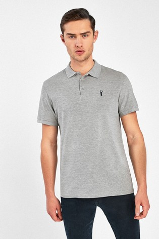 Grey Marl Regular Fit Pique Poloshirt