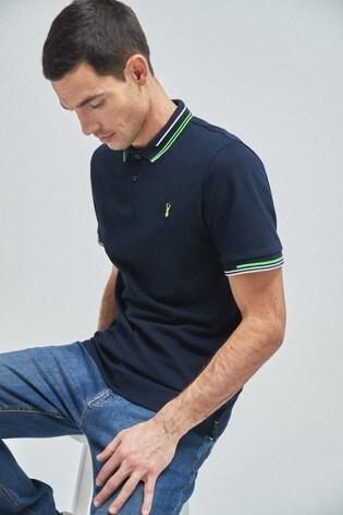 Navy Neon Tipped Regular Fit Poloshirt