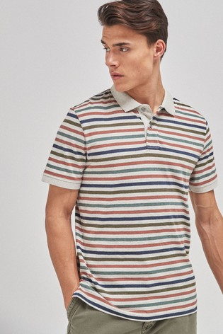 Neutral Stripe Organic Cotton Regular Fit Polo