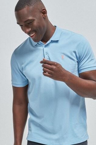 Light Blue Regular Fit Pique Poloshirt