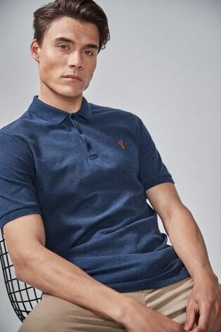 Navy Marl Regular Fit Pique Poloshirt