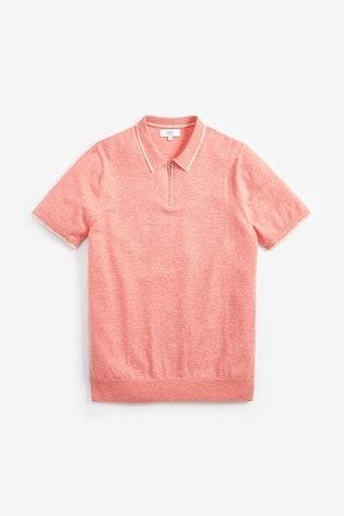 Coral Cotton Short Sleeve Zip Polo Top