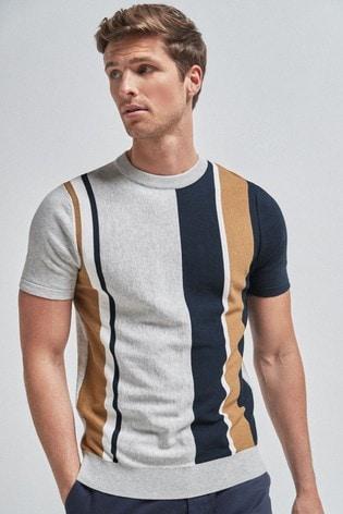 Light Grey Vertical Stripe Knitted T-Shirt