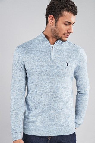 Light Blue Marl Zip Neck Jumper