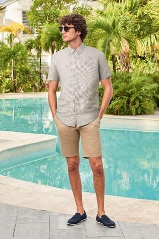 Ecru Regular Fit Textured Cross Linen Blend Shirt