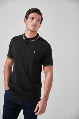 Black/Gold Tipped Regular Fit Poloshirt