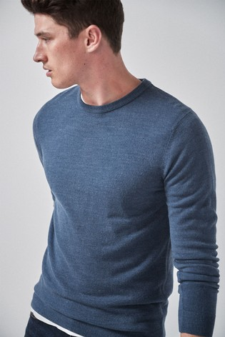 Blue Crew Neck Soft Touch Jumper