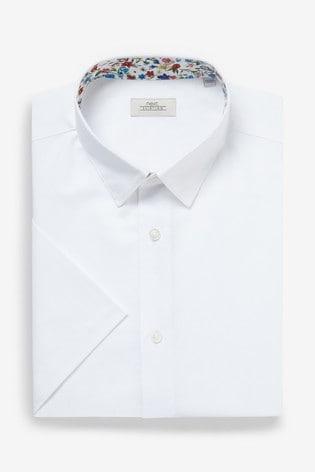 White Regular Fit Short Sleeve Cotton Linen Floral Trim Shirt