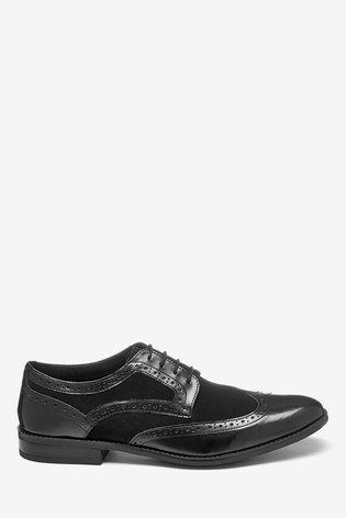 Black High Shine Leather/Suede Mix Brogue