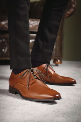 Tan Signature Textured Leather Derby Shoes