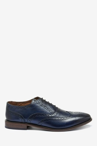 Navy Oxford Leather Brogue Shoes